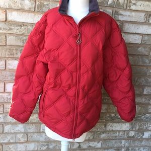 Cabela's red goose down jacket